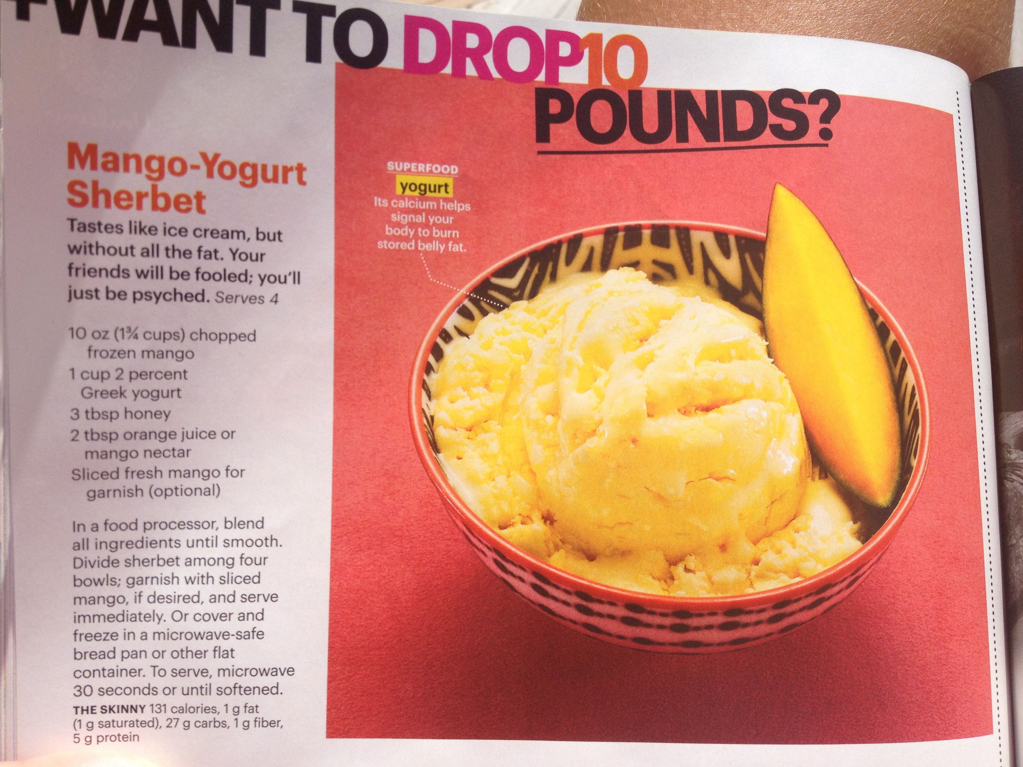 Self magazine mango yogurt sherbet   food   Pinterest