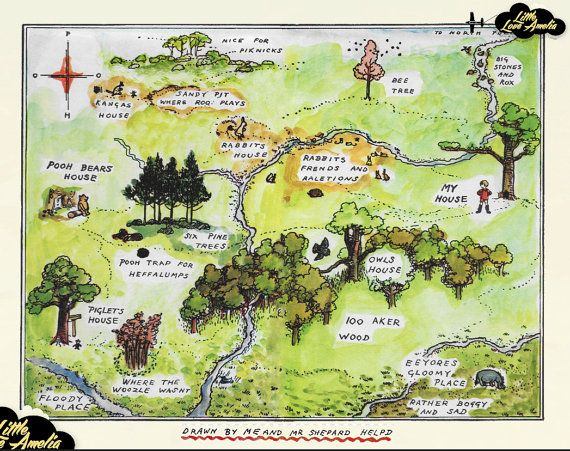 Winnie The Pooh Wall Art Hundred Acre Wood Map 100 Acre