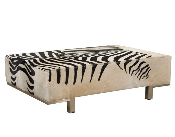 Zebra Print Cowhide Ottoman Coffee Table Stylish Home Furnishings