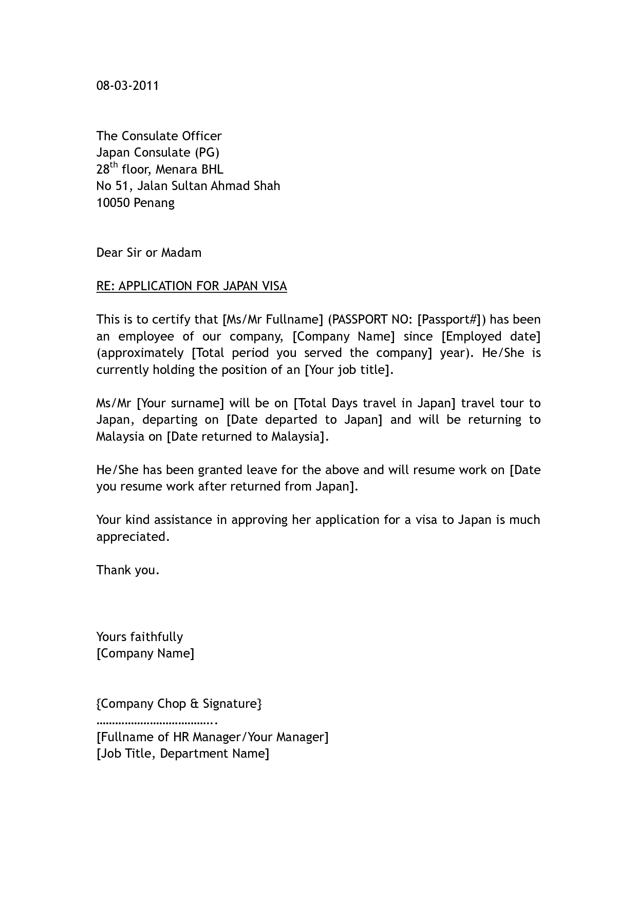 Cover letter format visa application sample cover letter for visa application thailand cover spiritdancerdesigns Images