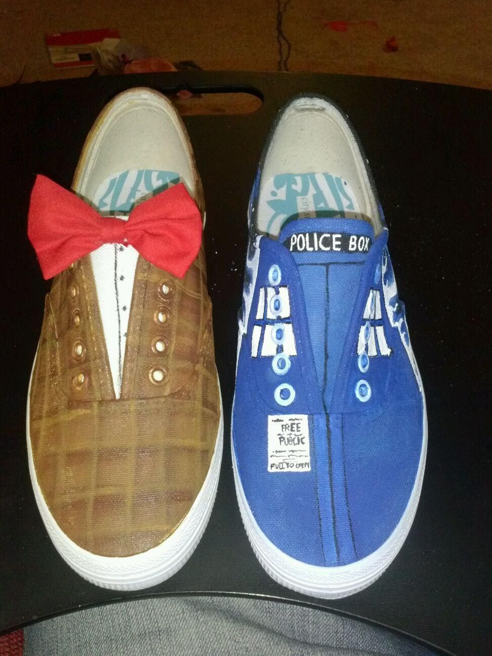 doctor who custom painted tennis shoes doctor who