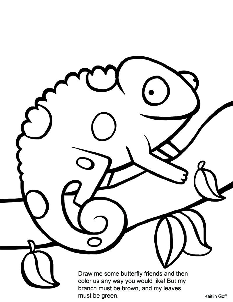 Chameleon coloring pages printable