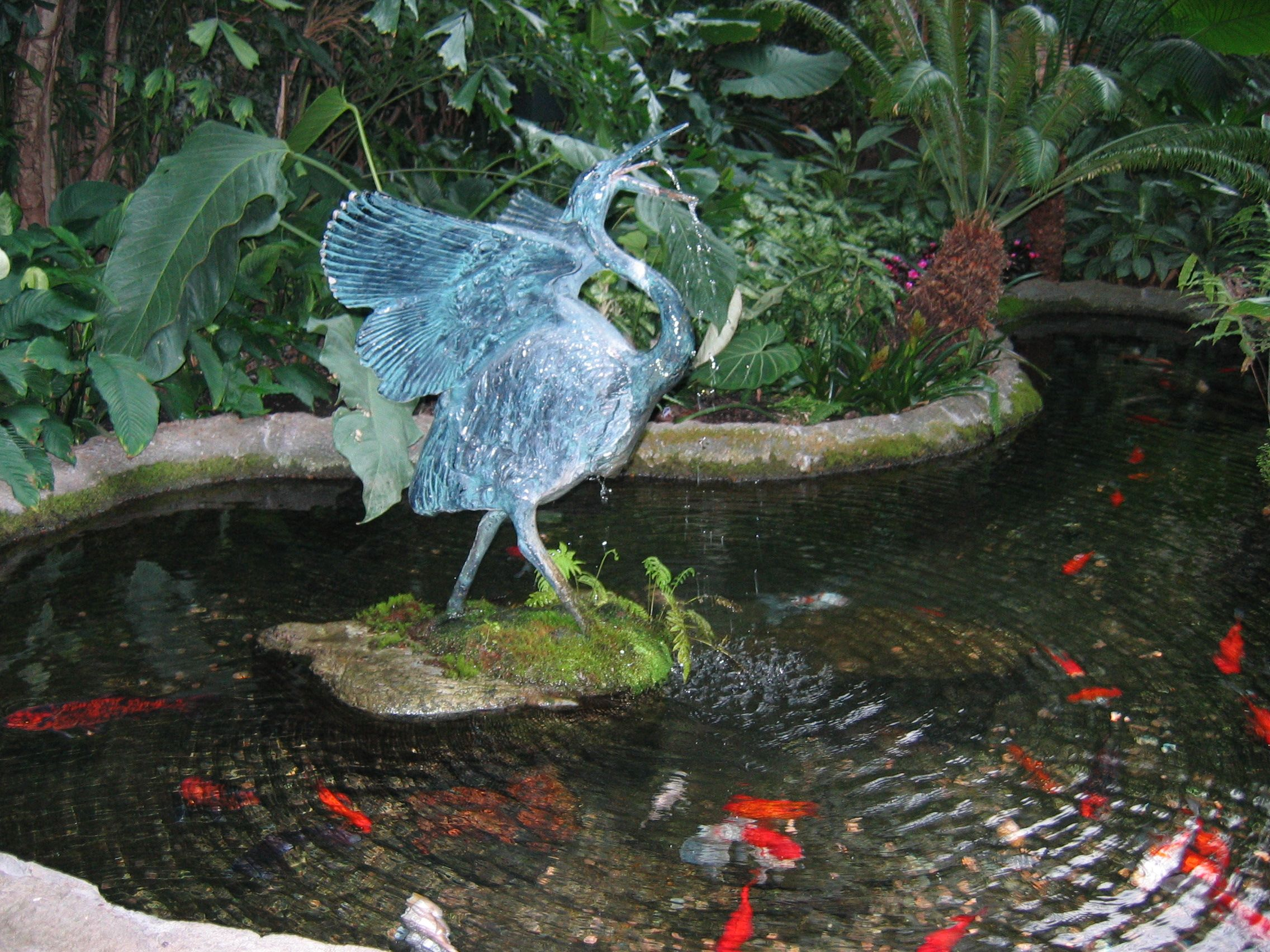 Egret Fountain In Koi Filled Pond Nature 39 S Beauty