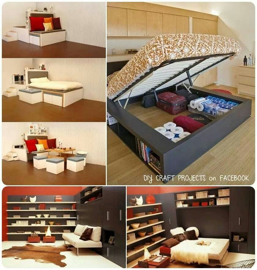 Space saving ideas diy furniture pinterest for Space saving ideas
