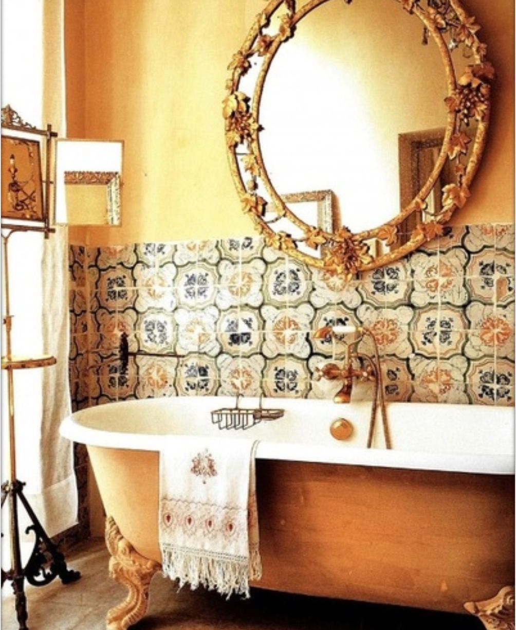 Old ornate italian style bathroom decor bathroom shower for Brown and gold bathroom sets