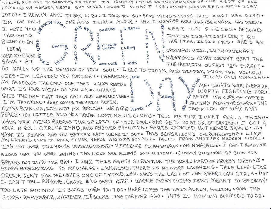 an analysis of the lyrics of a green day song Green day lyrics - find all lyrics for songs such as closing time, brain stew, holiday at lyricsfreakcom.