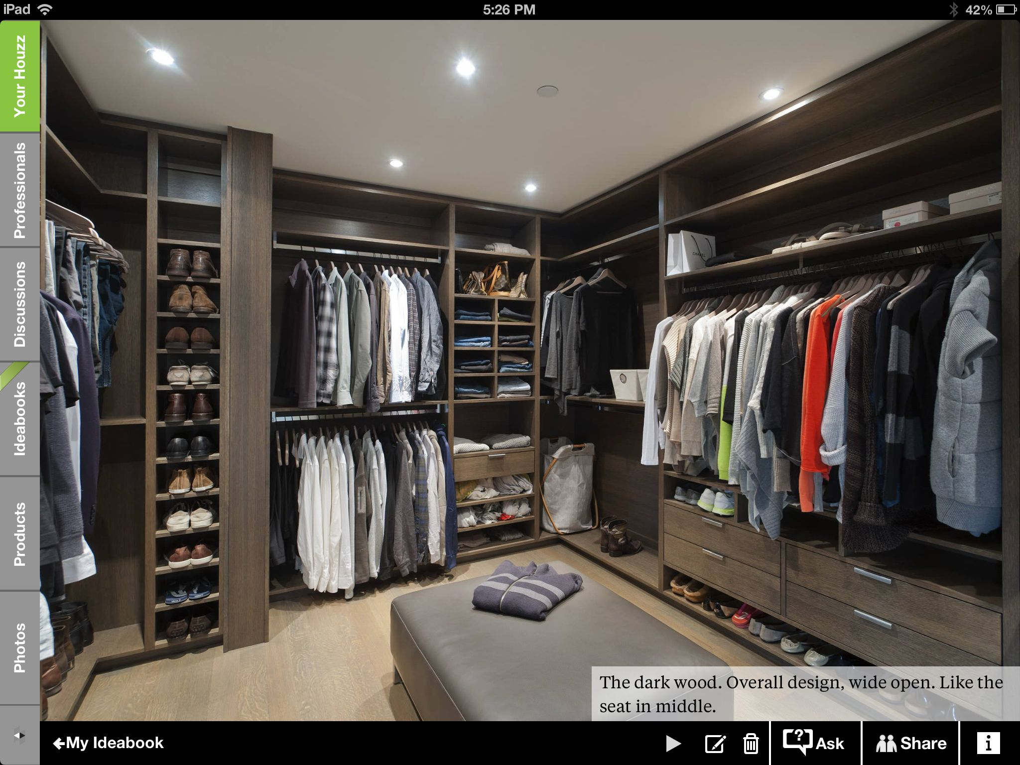 Beautiful walk in closet c l o s e t s for Walking closet modelo