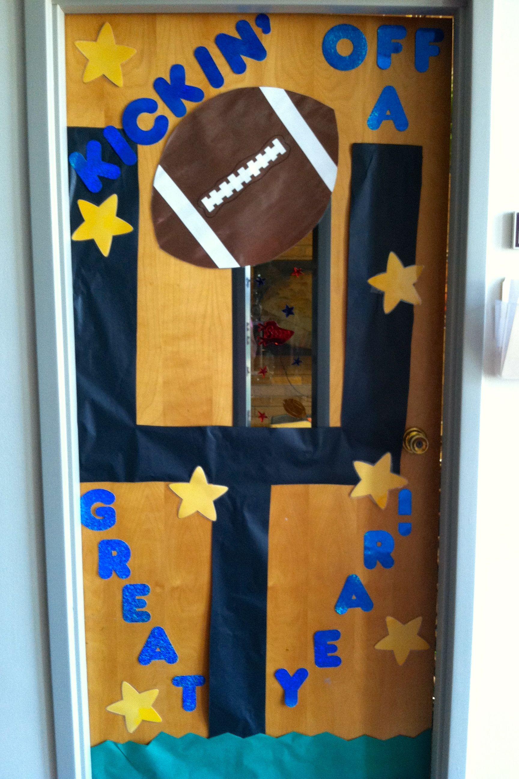 Back to school football door crafts pinterest for Back to school classroom door decoration ideas