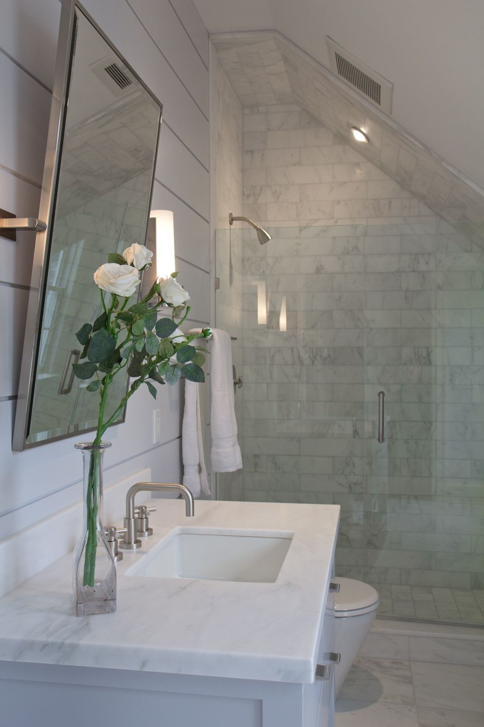 Guest bathroom for the home pinterest for Small attic bathroom designs