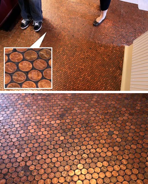 Penny floor for the home pinterest for Copper tile pennies
