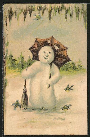 Vintage Snowman Postcards 105
