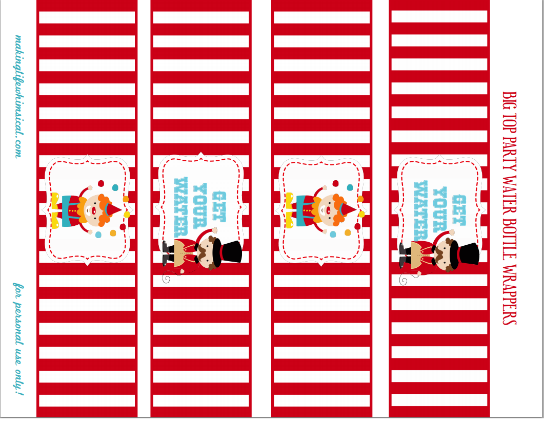 water bottle labels circus pinterest With circus water bottle labels