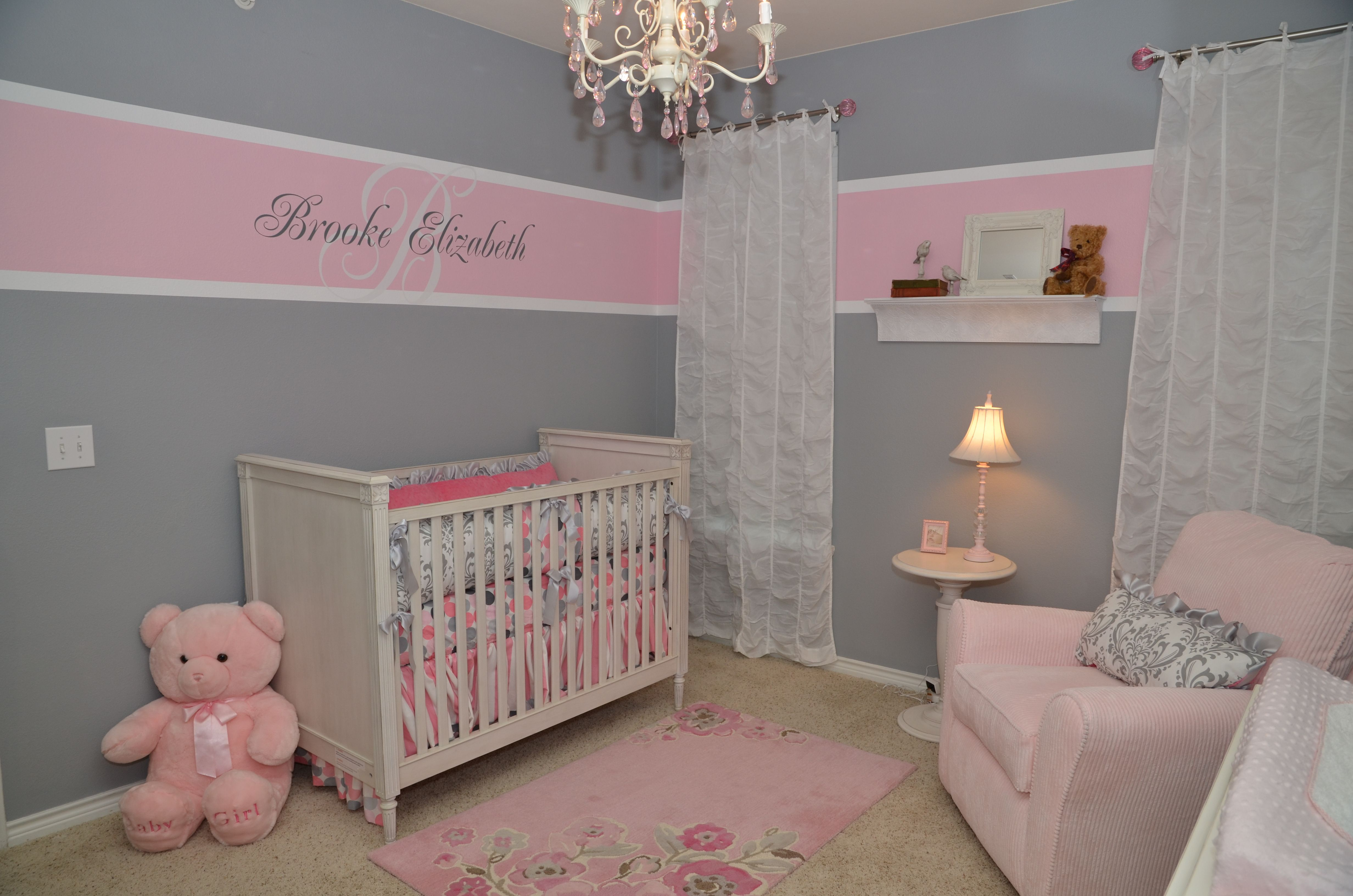 Baby girl room pink and grey for the home pinterest for Baby girl room colors