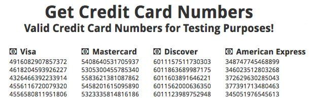Valid Credit Card Number That Is A