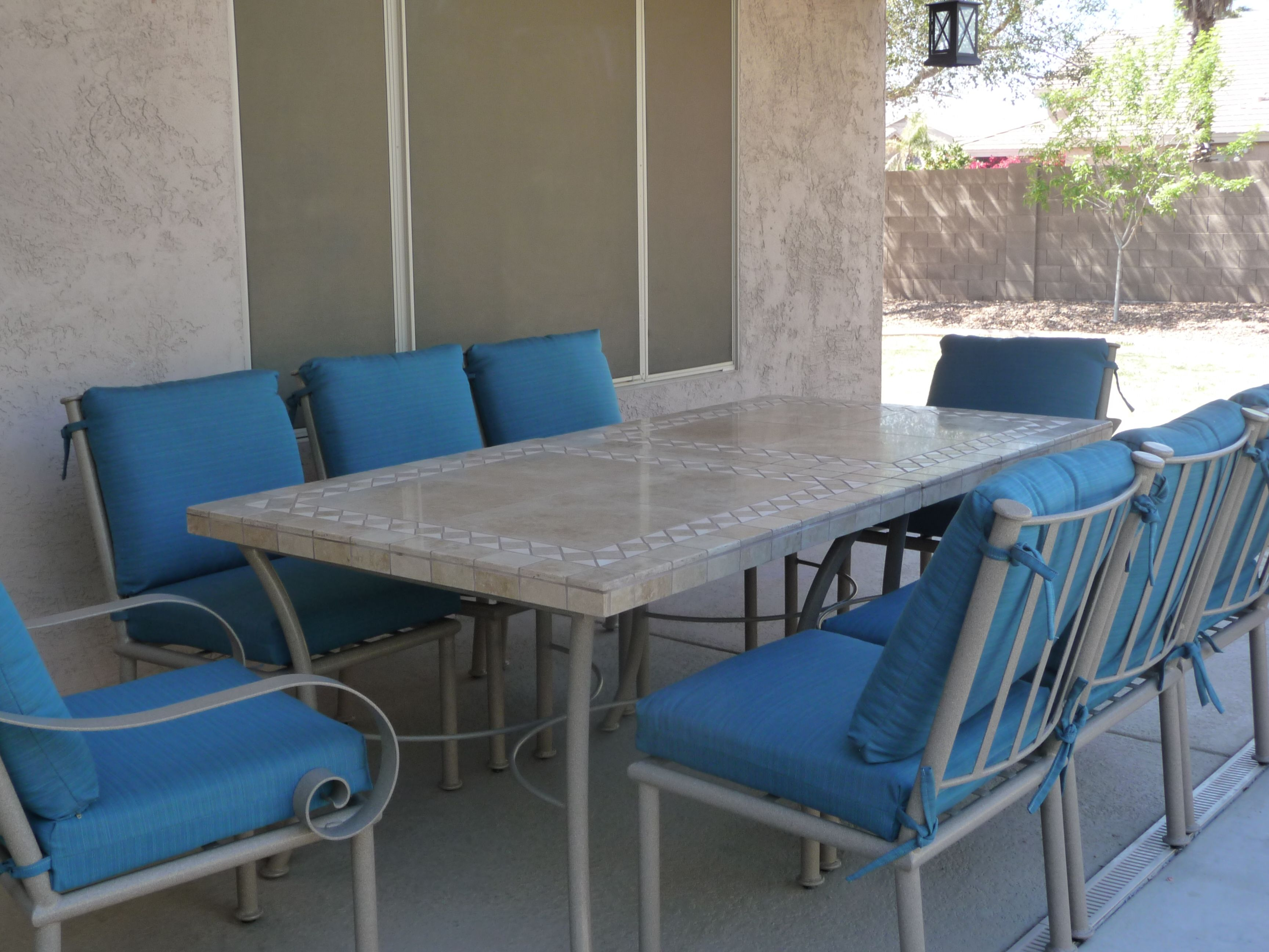 Travertine Dining Table Chairs Arizona Iron Patio Furniture Pint
