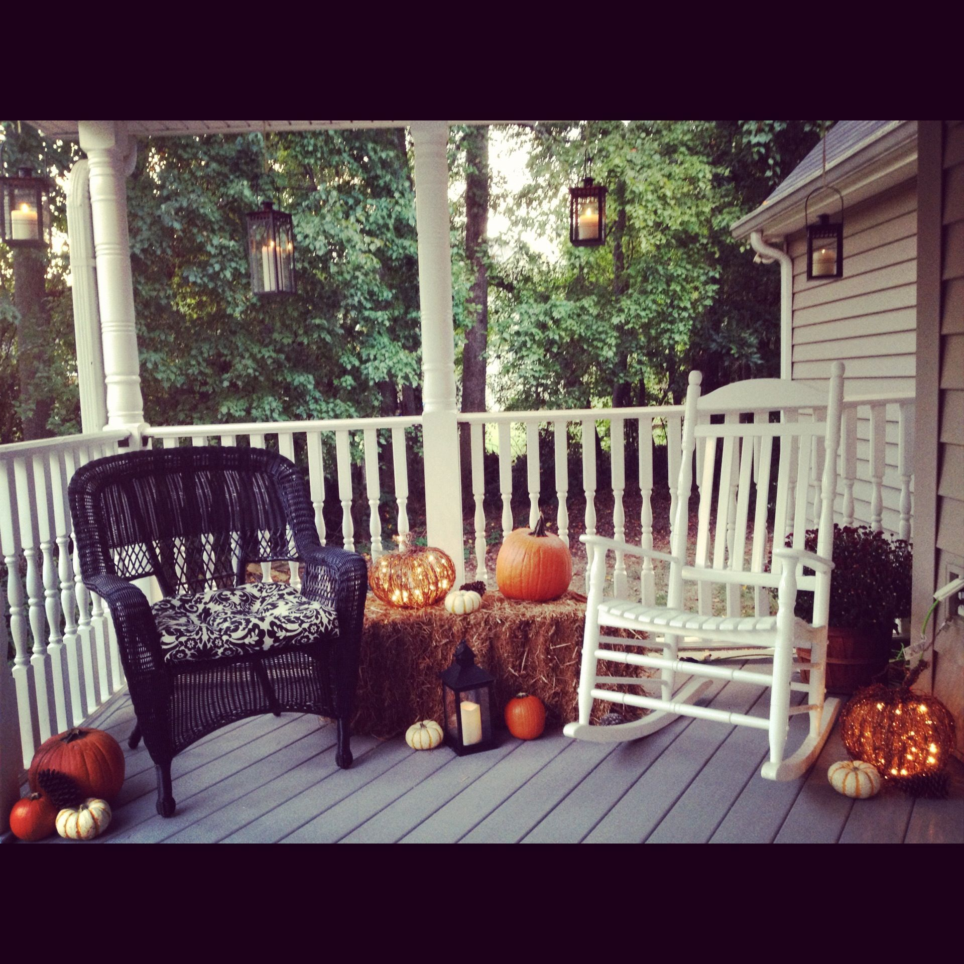 back porch fall decor porches pinterest