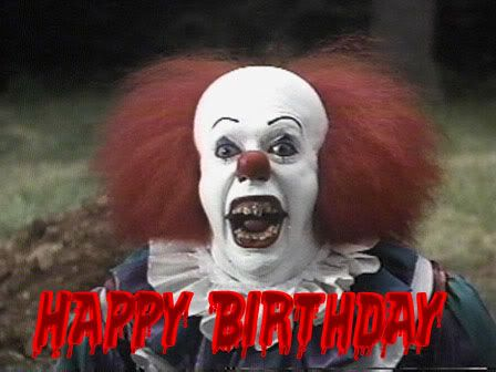 creepy clown birthday cards | happy birthday scary clown