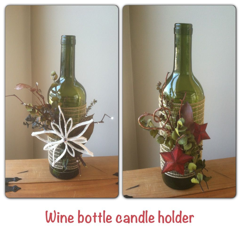 wine bottle candle holders seasons greetings christmas