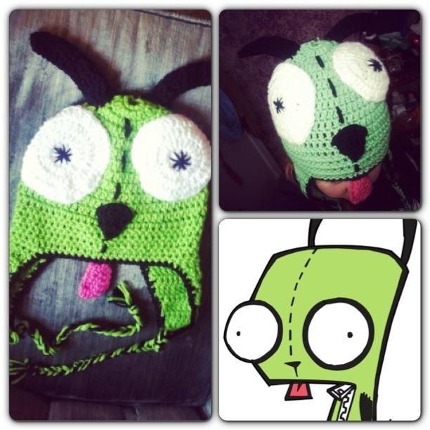 Crochet Invader Zim Patterns : Invader Zim Gir inspired crochet hat Chevelle Crochet and Crafts ...