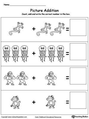 Addition worksheets for kindergarten pinterest