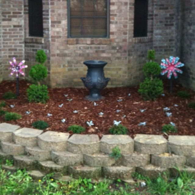 my flower bed in front of my house garden n flower beds