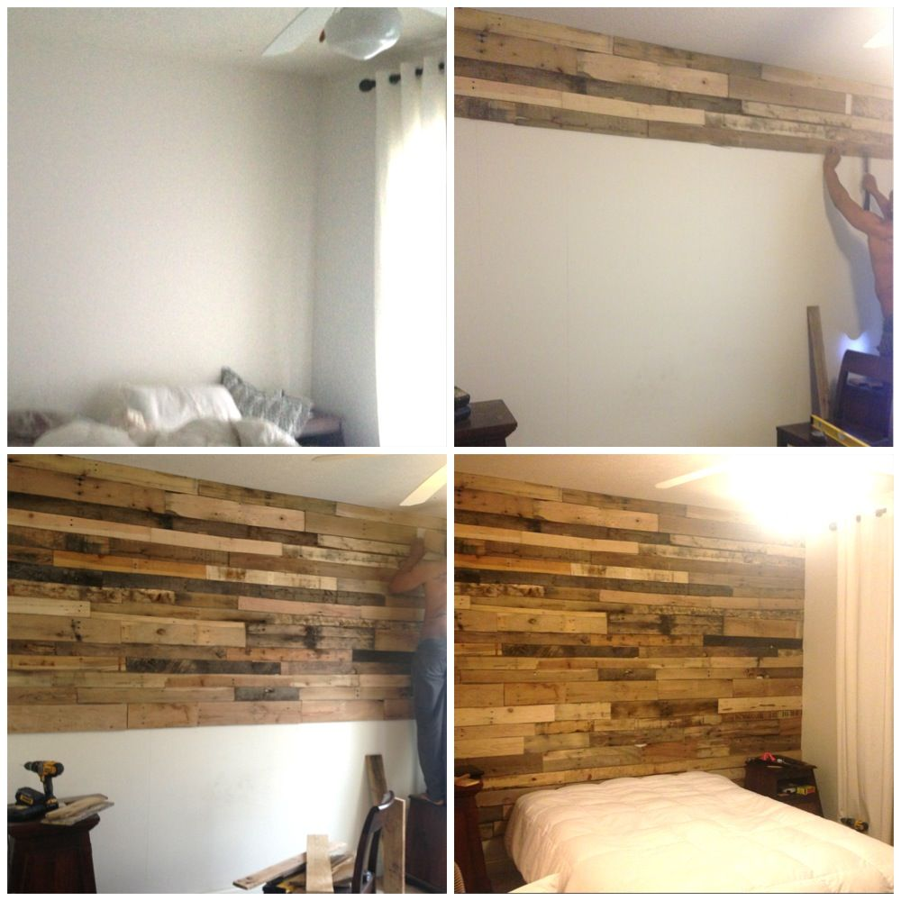 Our Diy Wood Pallet Accent Wall Interior Decor Pinterest