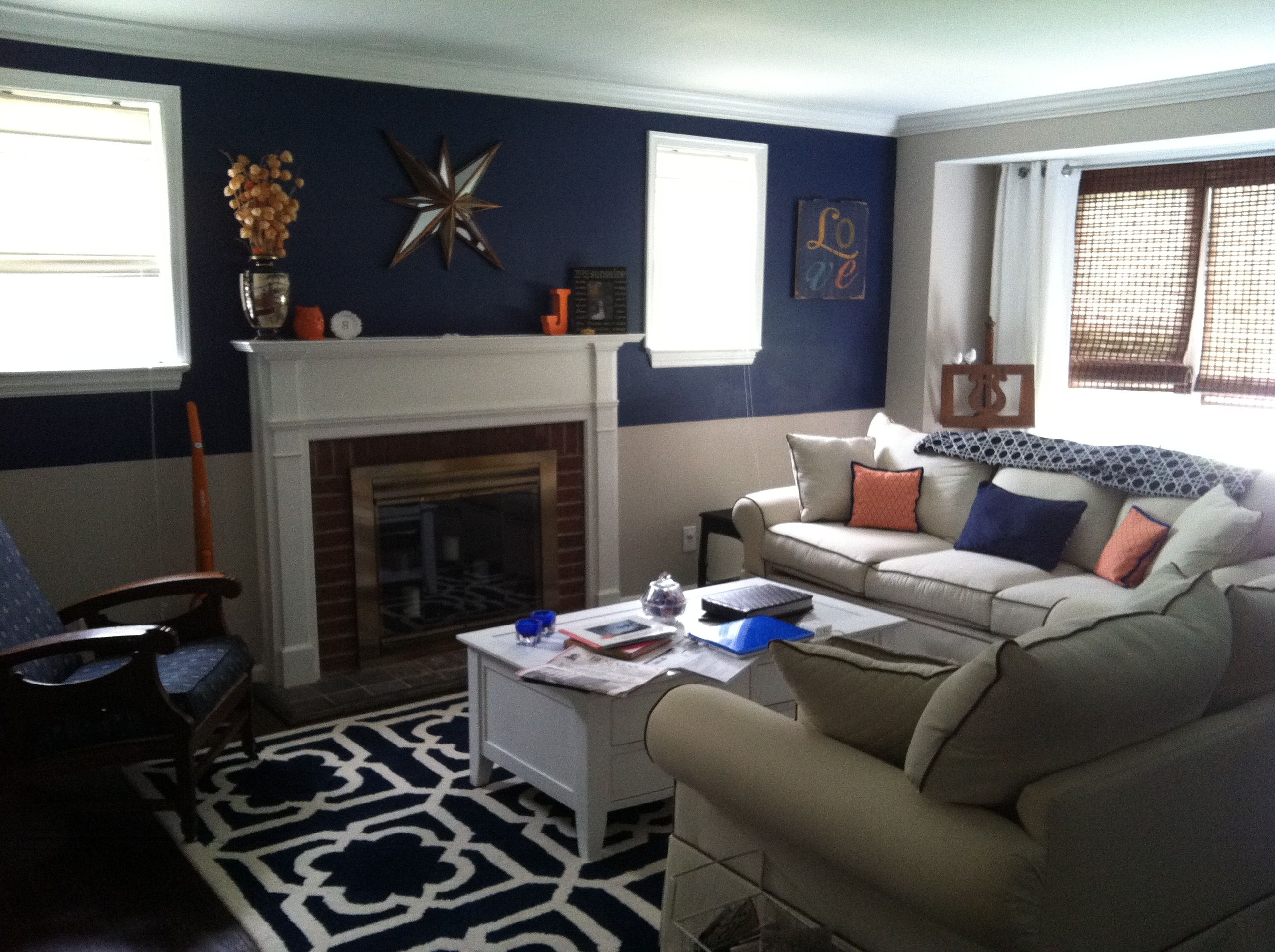 Orange and navy living room around the house pinterest for Living room navy walls