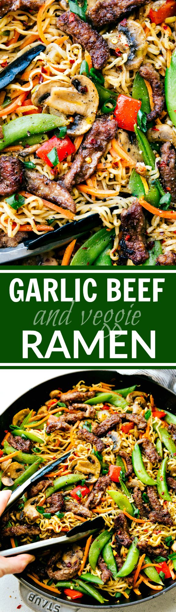 GarlicBeef and Veggie Ramen is an easy 30-minute dinner recipe that is so much better than take-out! via chelseasmessyapron.com