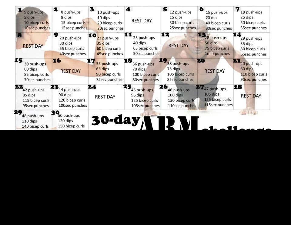 30 day arm challenge just do it pinterest