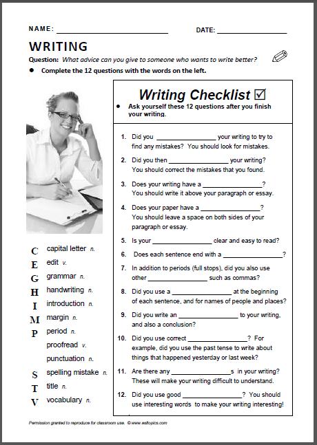 essay editing checklist middle school