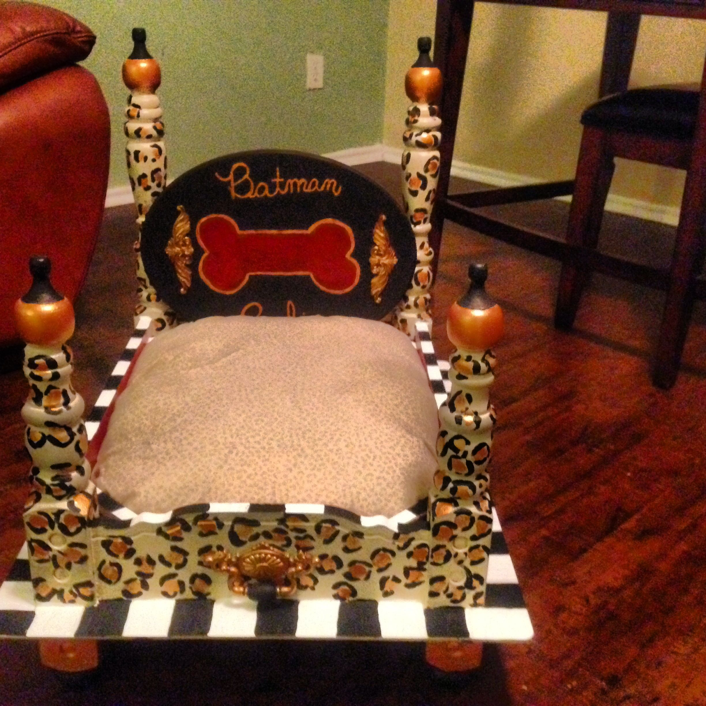 Dog bed made out of goodwill end table dog nerd pinterest for Making a dog bed out of a table
