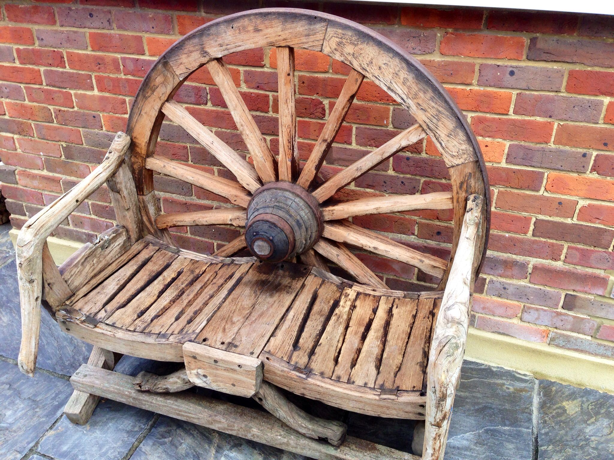 Wagon Wheel Bench Garden Pinterest