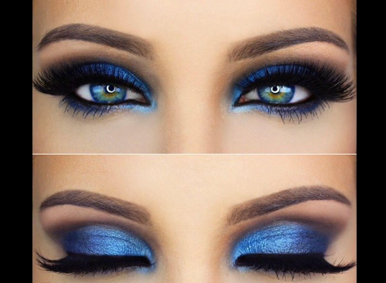 Фото макияжа для голубых глаз к синему платью