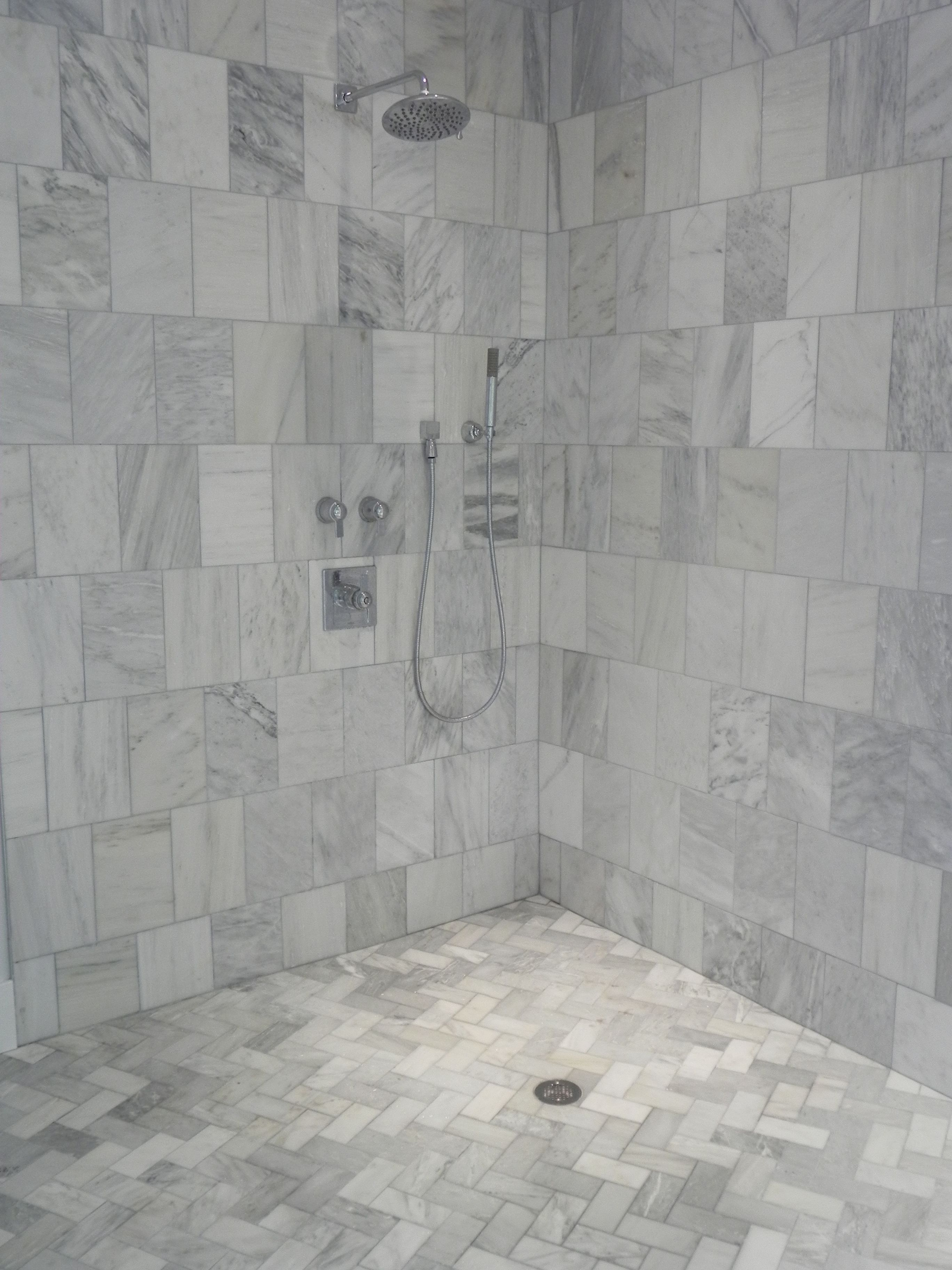 Master bath carrera marble shower my dream master for Carrera bathroom ideas