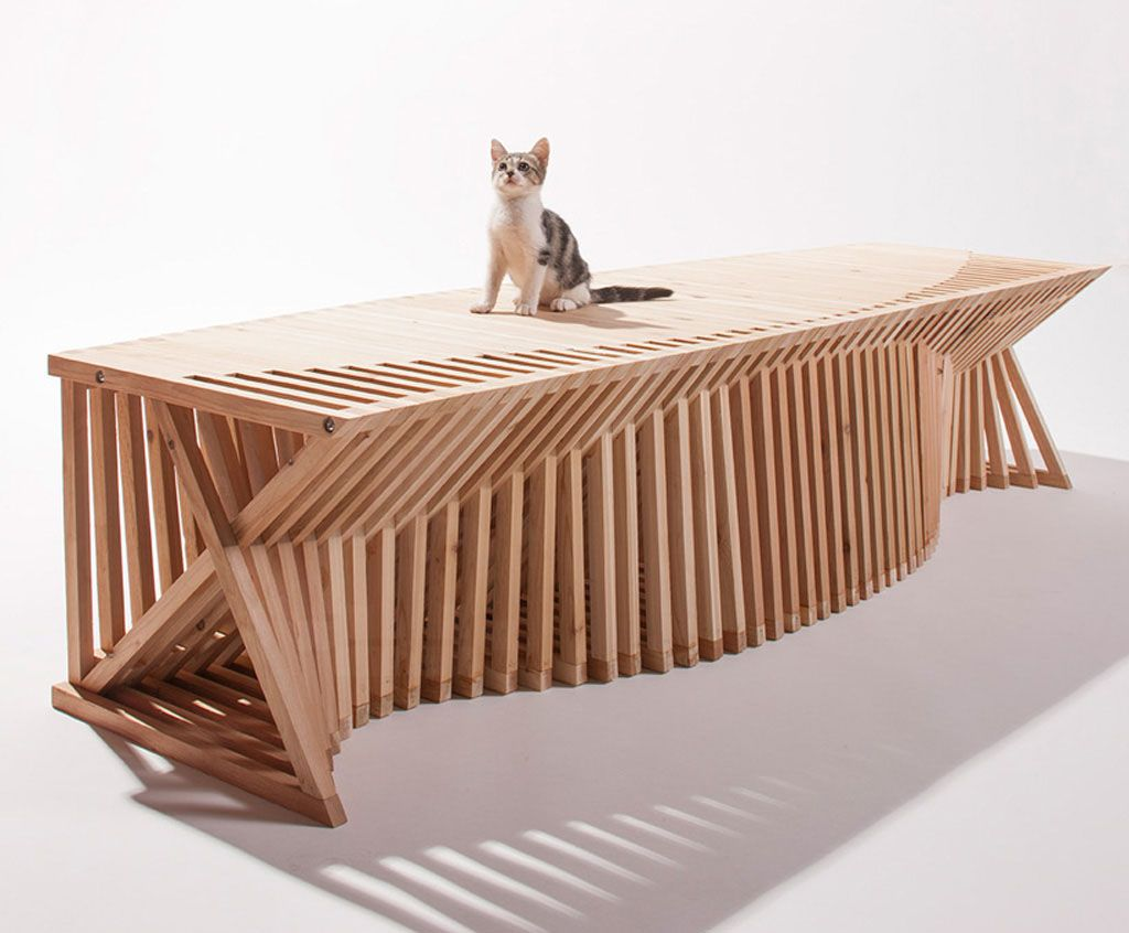 Thiết kế nhà ở độc đáo cho mèo với những thanh gỗ