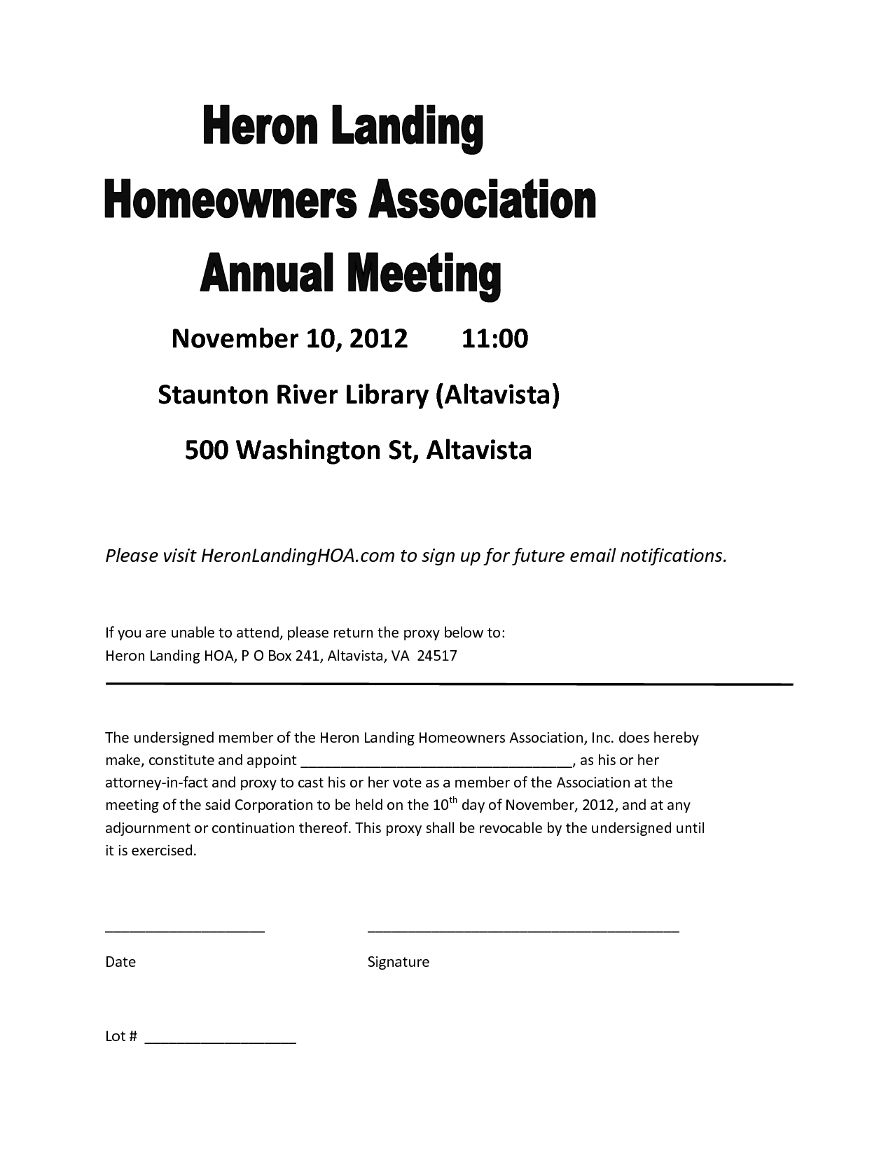 Homeowners association letters samples free professional resume homeowners association letters homeowners association proxy form with sample hoa proxy form late rent notice letter for rent payment form with sample letter altavistaventures Gallery