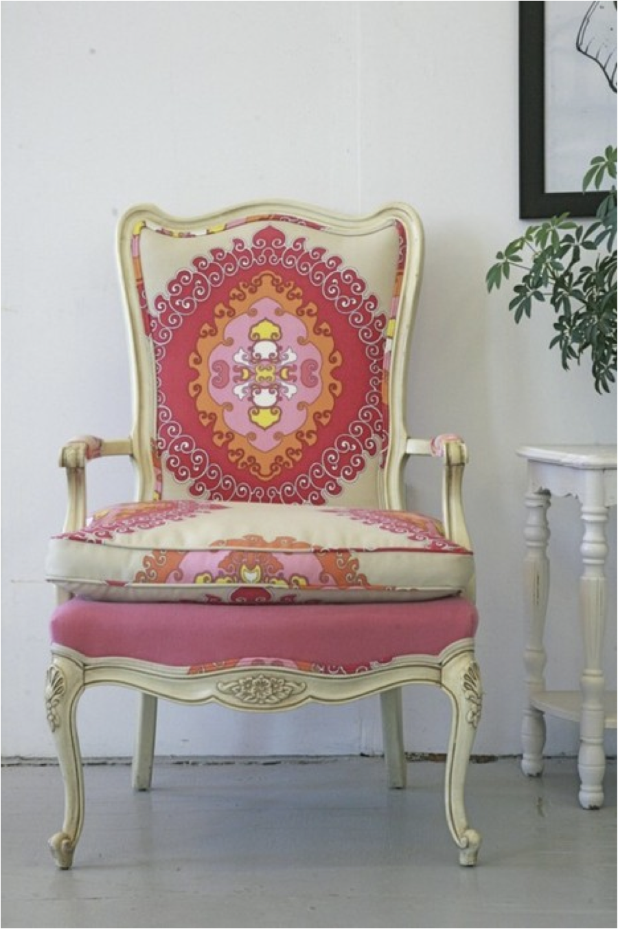 Reupholstered antique chair DIY