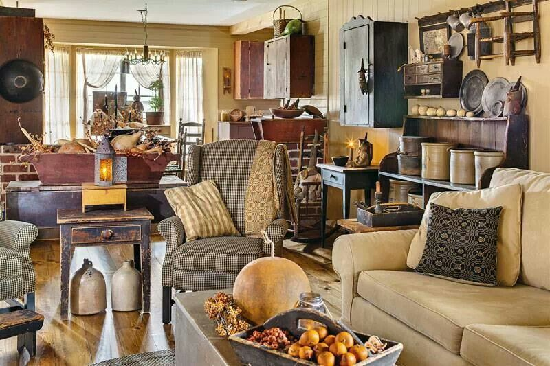 Love This Prim Living Room Primitive And Colonial Decor Rooms 4 Pinterest
