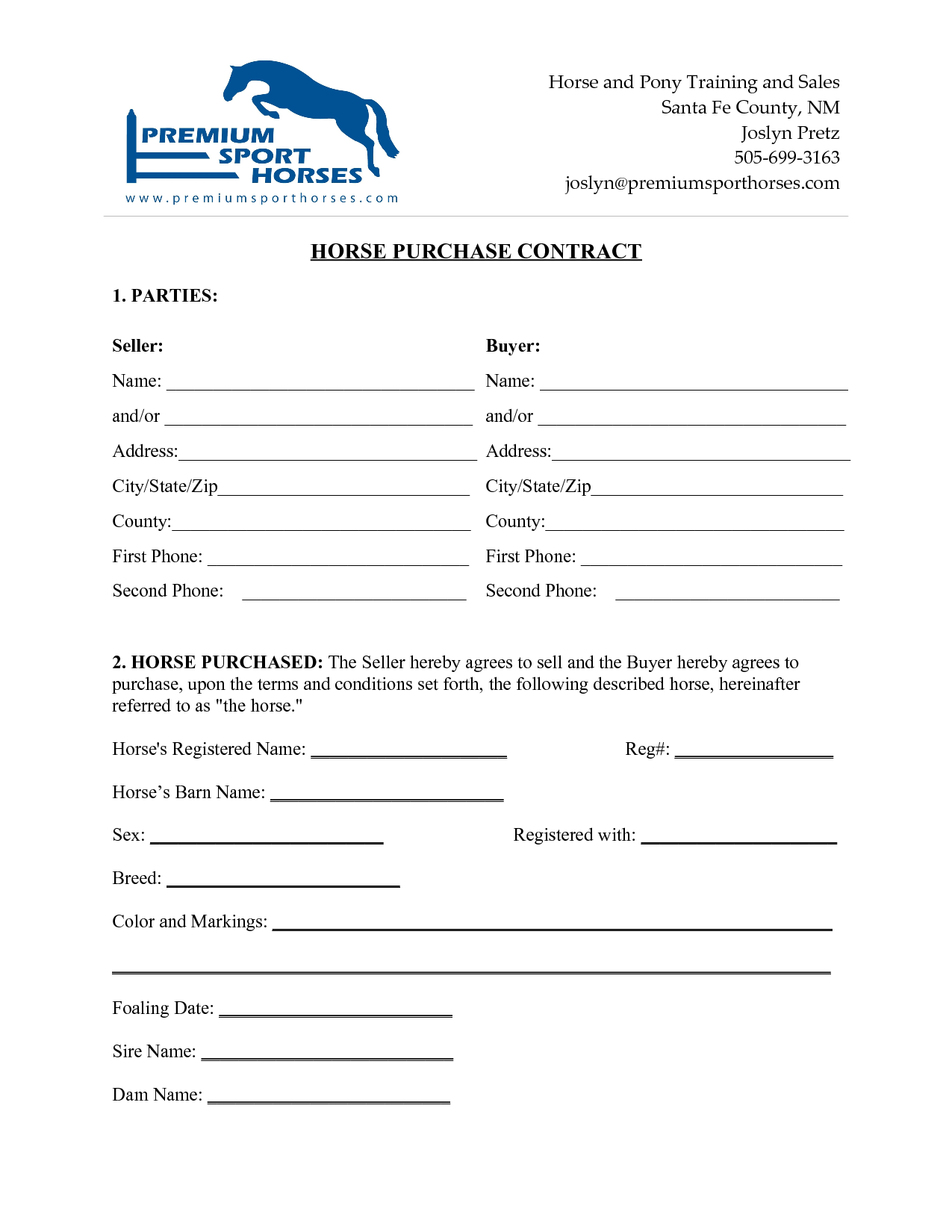 Horse bill of sale template datariouruguay accmission Choice Image