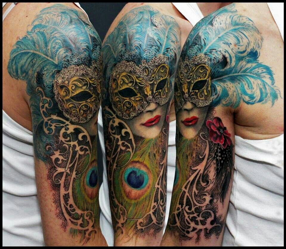 Mardi gras tattoos pinterest for Mardi gras mask tattoo
