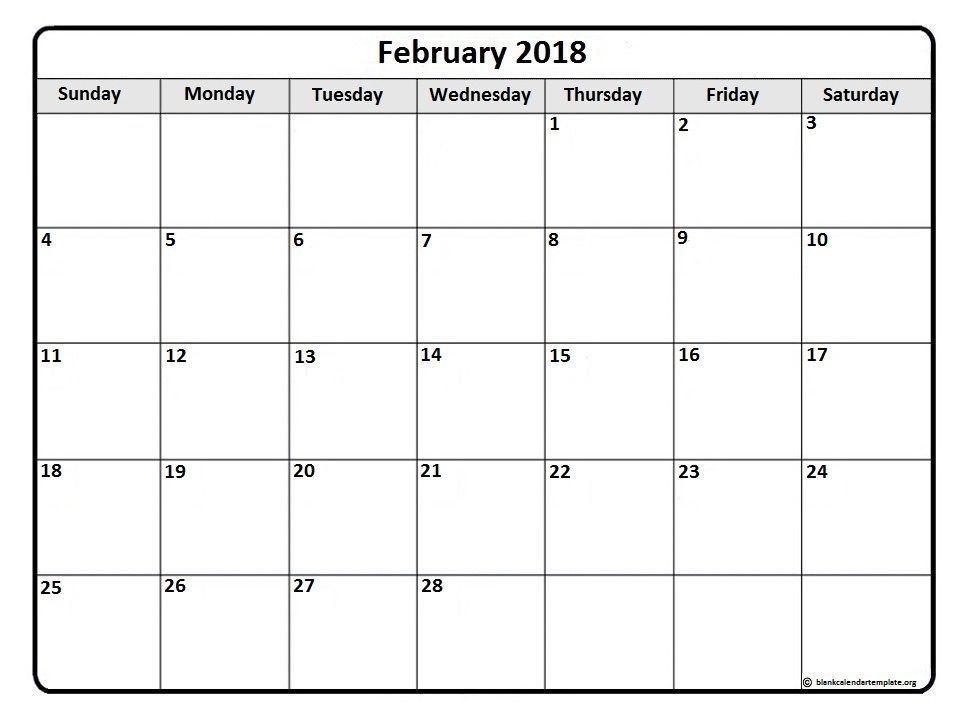 February 2018 monthly calendar template | Printable calendars ...