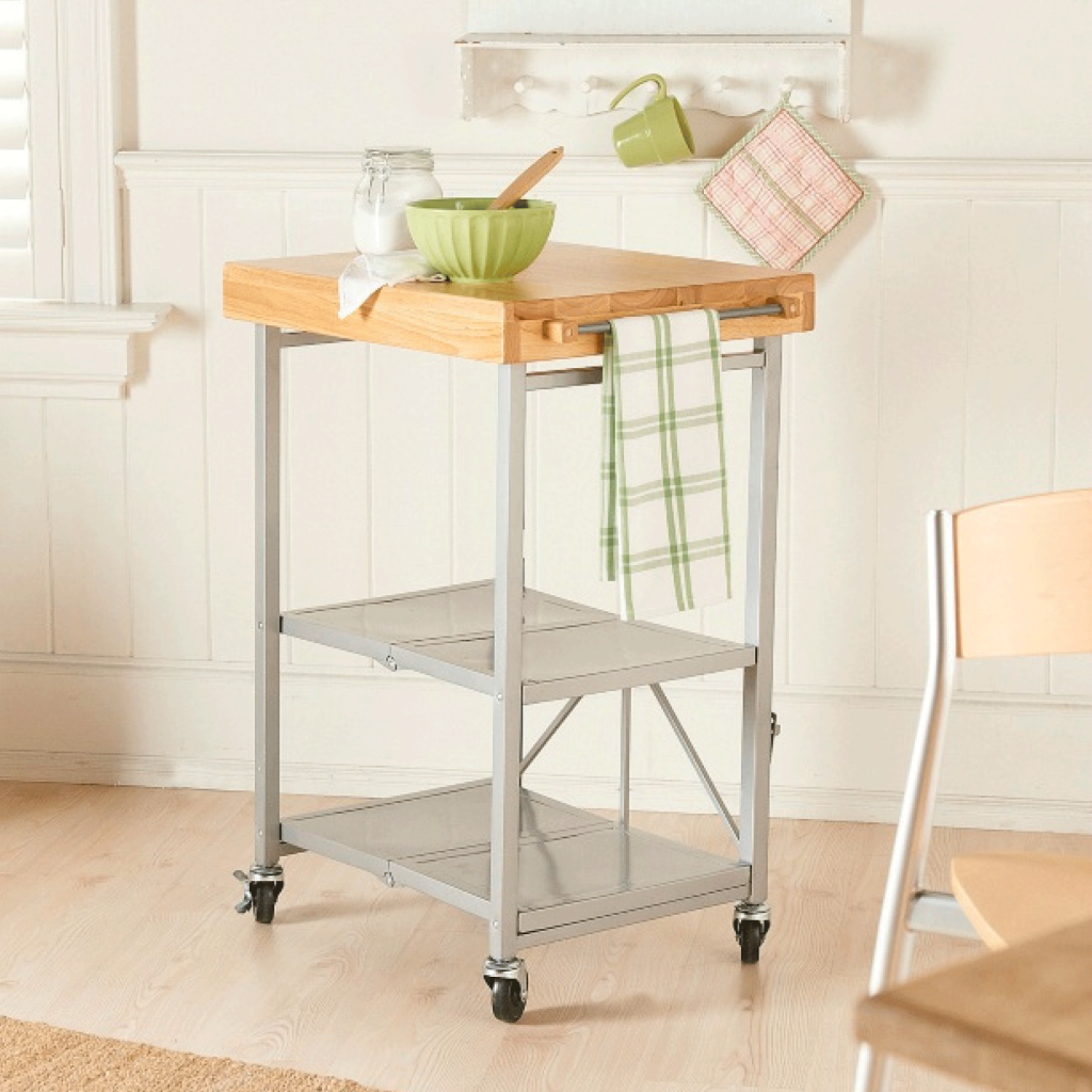 Origami folding kitchen island cart