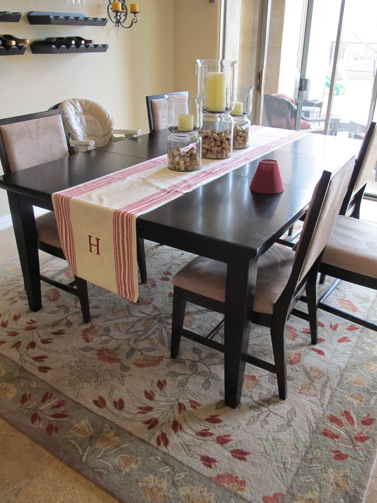 Rug under kitchen table for the home pinterest for Rug under kitchen table