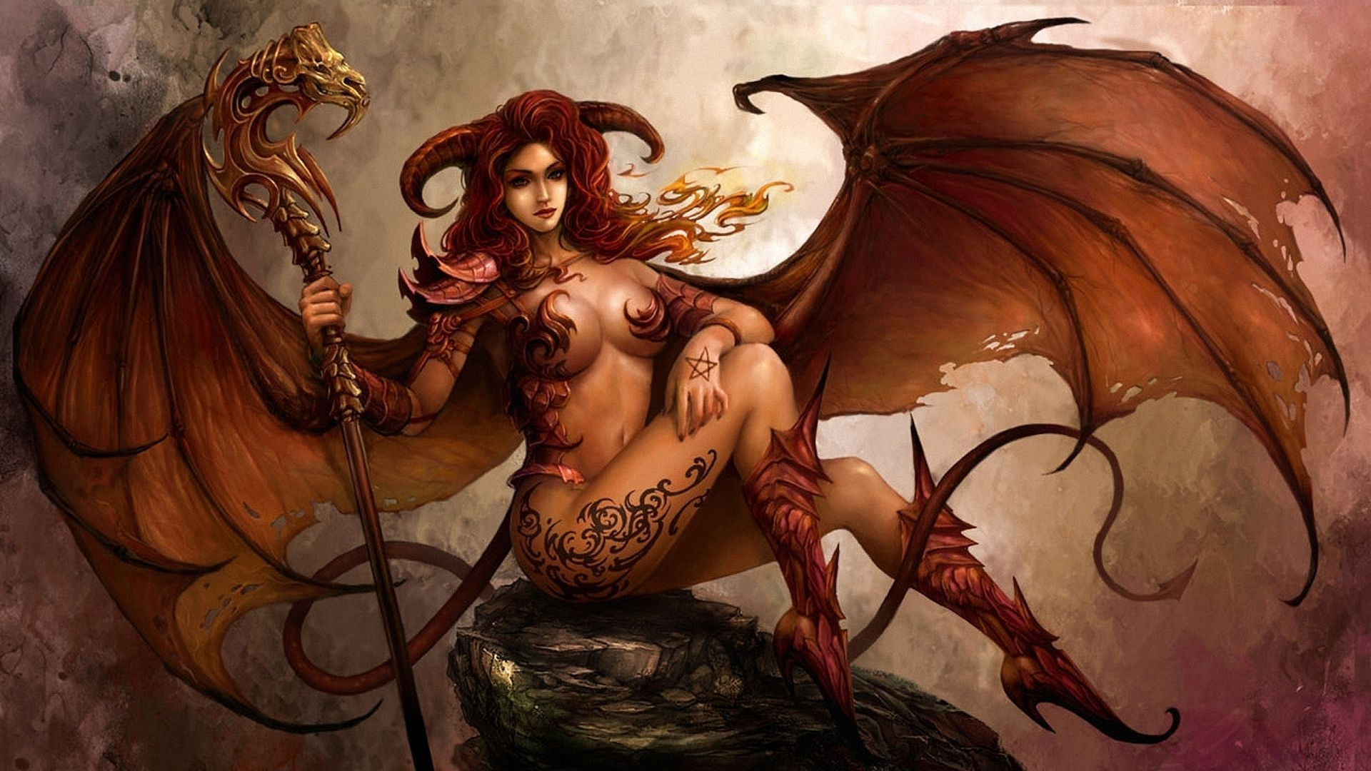 Angels and demons nude girls wallpaper erotic picture