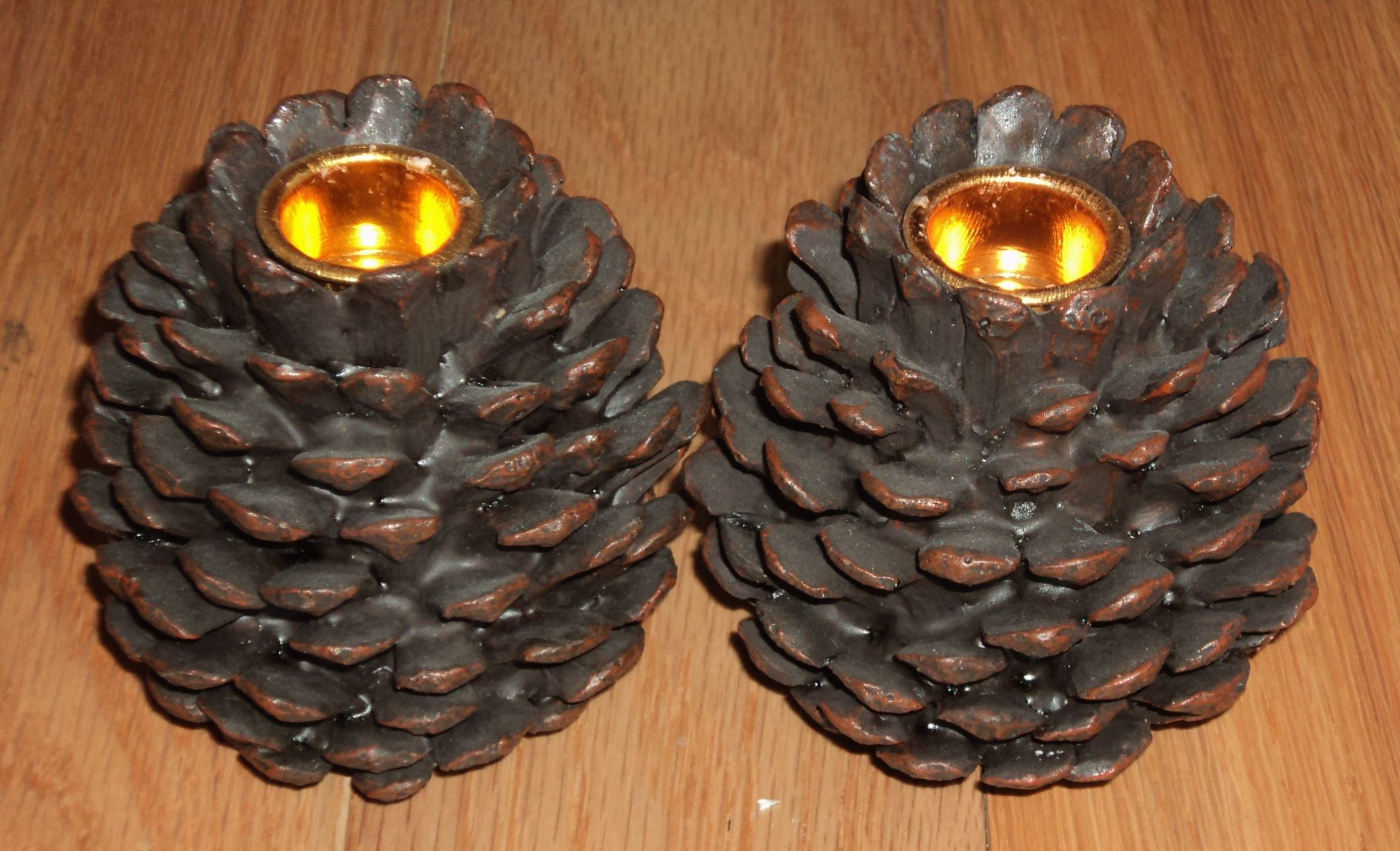 Pine Cone Candle Holders  Candles & Lights  Pinterest