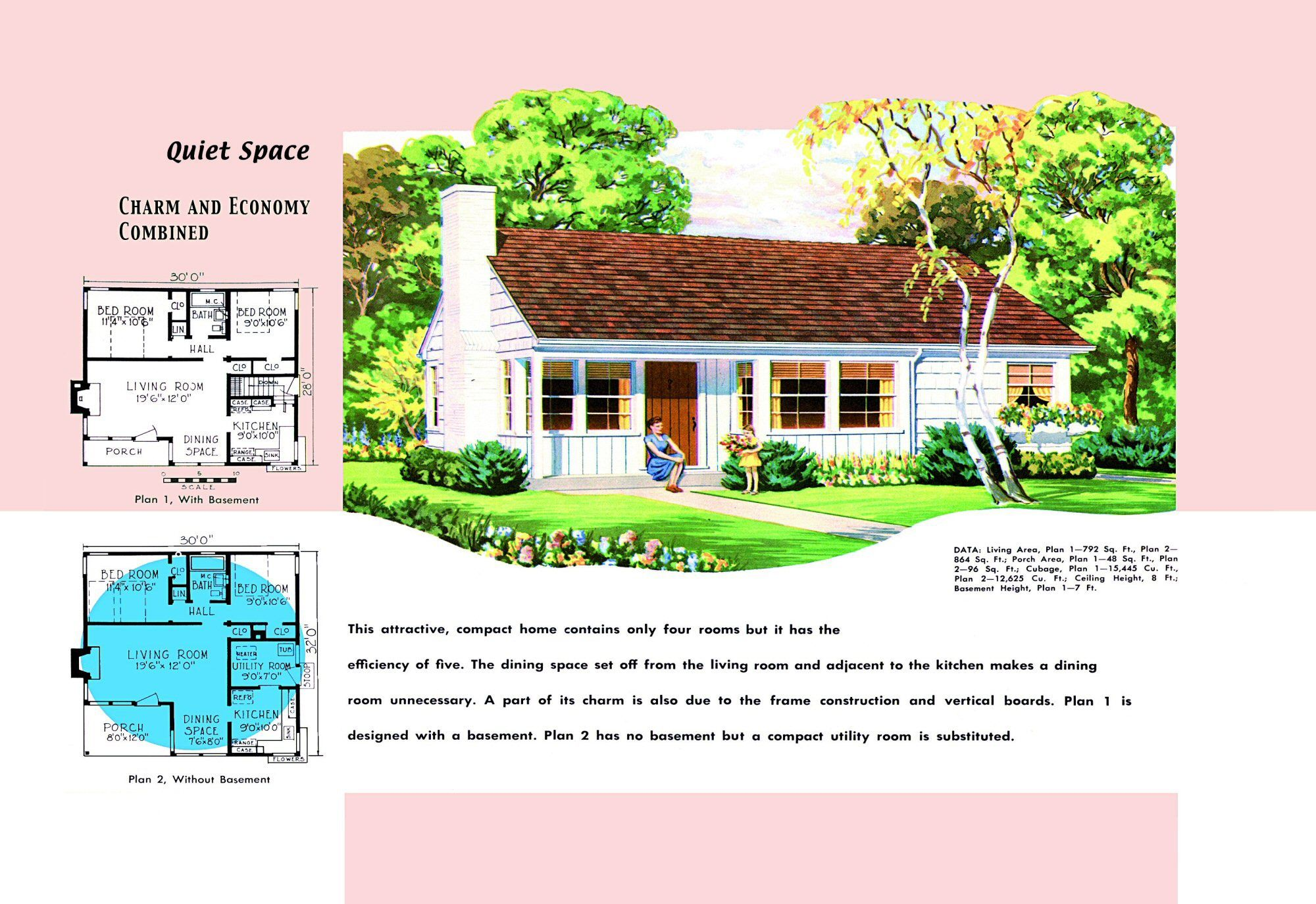 1940s And 50s House Plans Quiet Space Houses And Floor