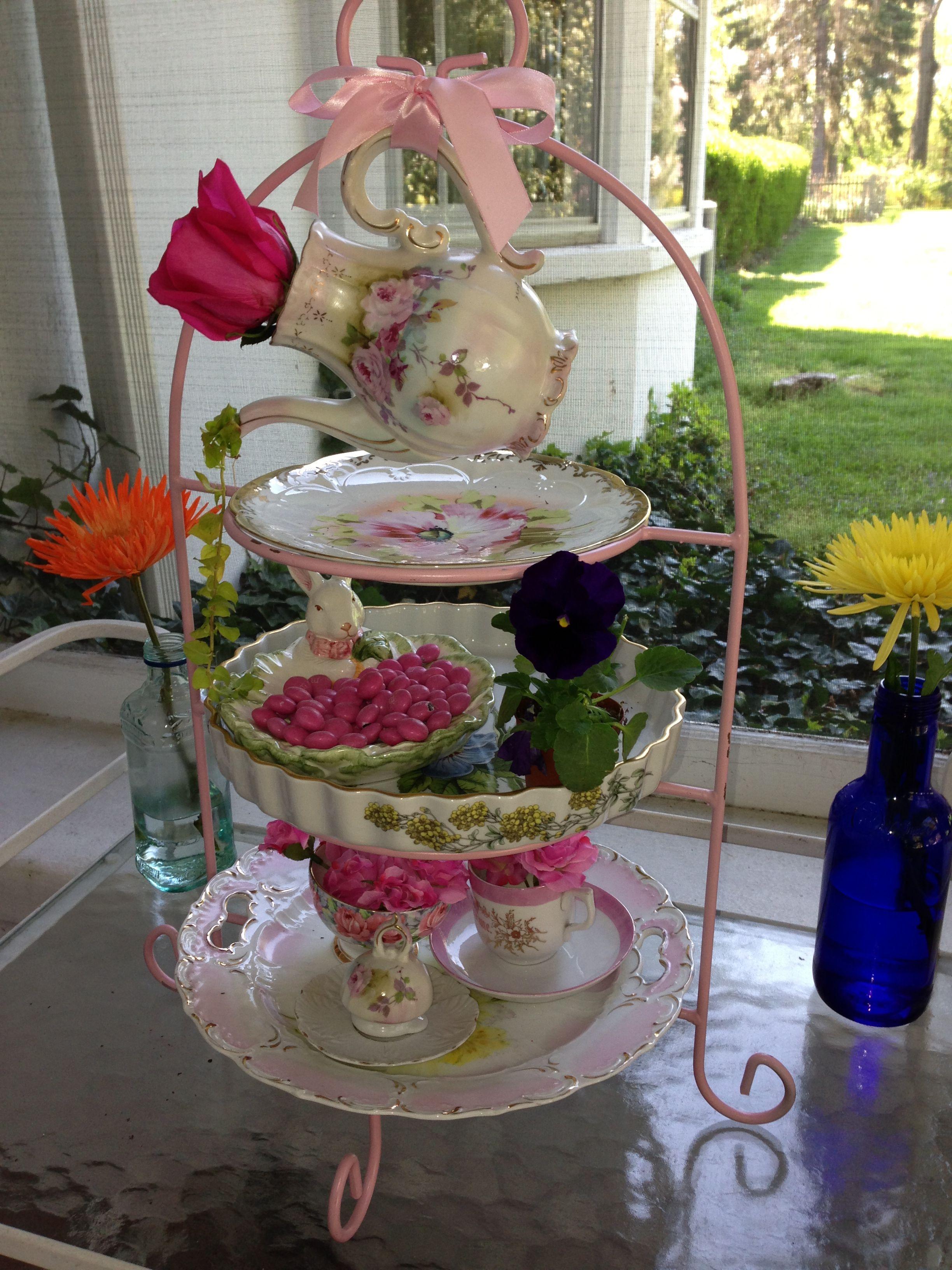 Tea party bridal shower decorations parties pinterest for Tea party centerpieces