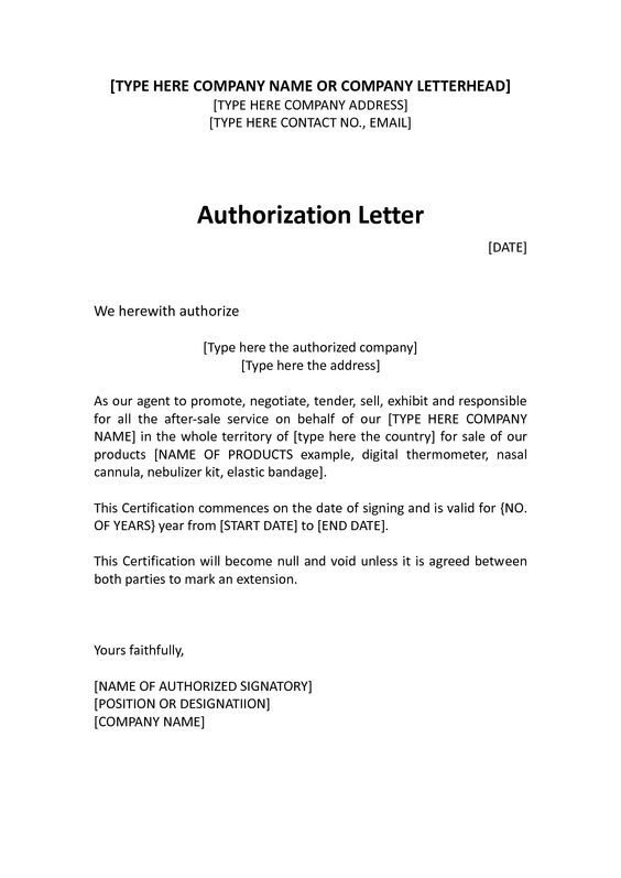 Example Of Authorization Letter – Printable Editable Blank