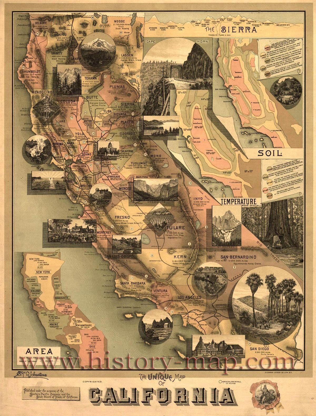 California Vintage California History Map Road Trip