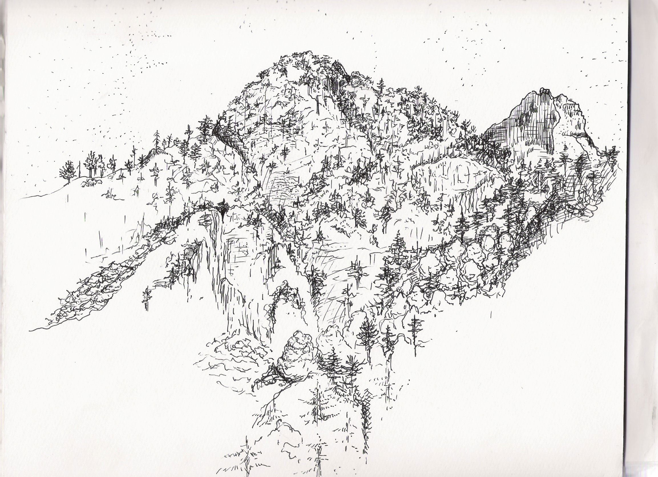 Line Drawing Mountain : Mountain side line drawing art when will the landscape